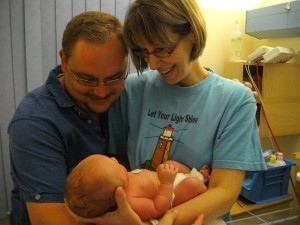 Diane and Jon-Mark hold their son for the first time